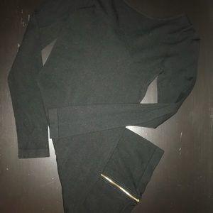 Dynamite Bodycon Sweater Dress with Gold Zipper